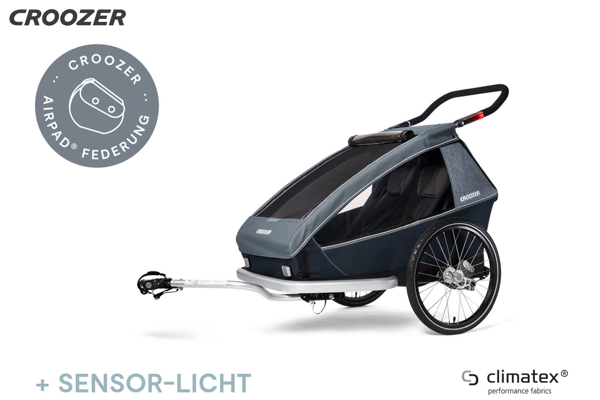 CROOZER Kid Vaaya 2, graphite blue - Kindertransportanhänger